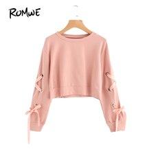 ROMWE  Eyelet Lace Up Sleeve Crop Sweatshirt Autumn Pink Round Neck Cute Pullovers 2018 Women Long Sleeve Casual Sweatshirt