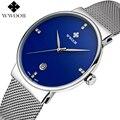 Data Relógio dos homens Relógios Top Marca de Luxo Ultra Fina do Sexo Masculino Cinta de aço Azul À Prova D' Água Relógio de Quartzo dos homens Casuais de Esportes de Pulso relógio