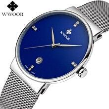 Hommes Montres Top Marque De Luxe Ultra Mince Date Horloge Mâle Bracelet en acier Étanche Bleu Quartz Montre Hommes de Poignet De Sport Occasionnels montre
