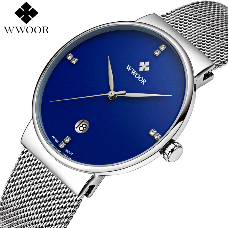 WWOOR Silver Steel Mens Watches Brand Luxury Waterproof Slim Analog Date Clock Mesh Band Sport Men Quartz Wrist Watch Male Blue