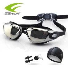 Фотография Men Women Swim Glasses Anti Fog UV Protection Swim Eyewear Waterproof Swim Goggles With Hat and Ear Plug Nose Clip Suit M619AMR