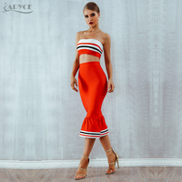 ADYCE New Bodycon Women Bandage Set 2018 Summer Dress Two 2 Pieces Set Top&Skirts Striped Vestidos Celebrity Evening Party Dress