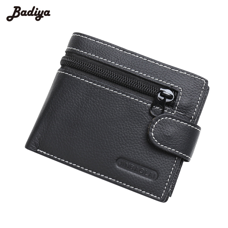 Genuine Leather Classic Wallet Mens Business Zipper& Hasp Coins Purses Small Cards Holder Short Carteira Masculina Photo Slot