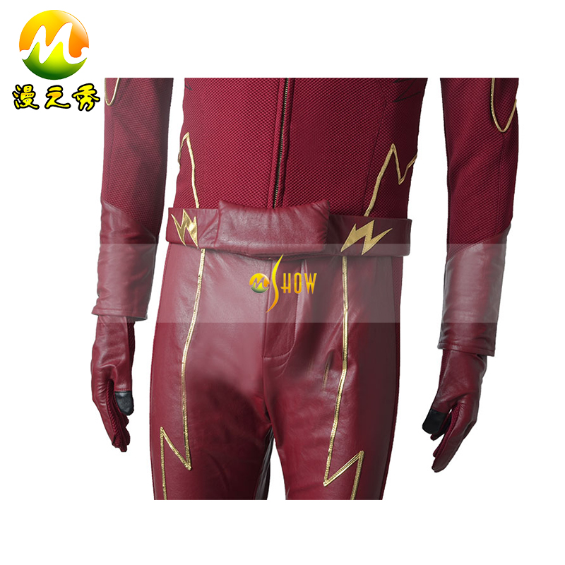 The Flash Barry Allen Cosplay Costume Halloween Party Superhero Outfit Custom Made Free Shipping