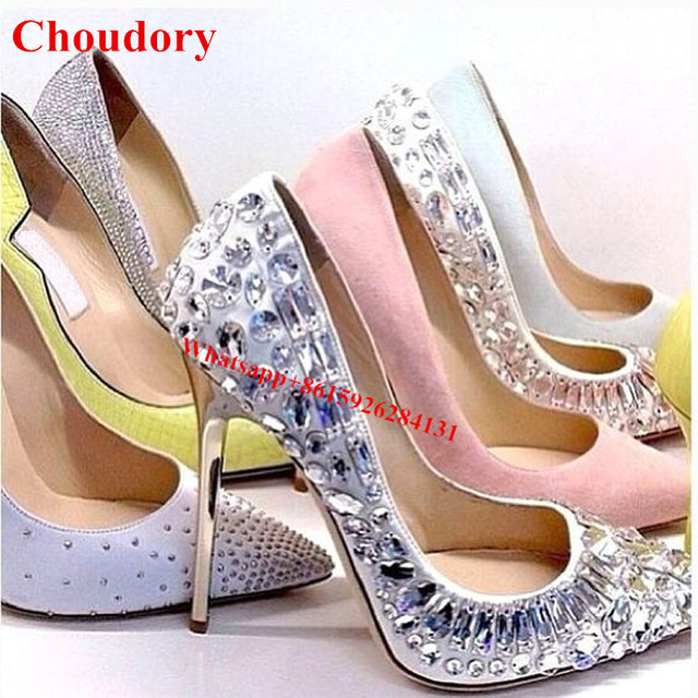 Pointed Toe Metal Supper Stiletto Heels Sparkle Crystal Bridal ...