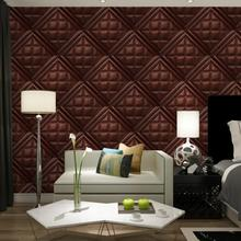 Modern Luxury Faux Leather Soft Bag 3D Wallpaper For Walls Embossed Vinyl, Wall Paper Rolls For Living Room Sofa Tv Background