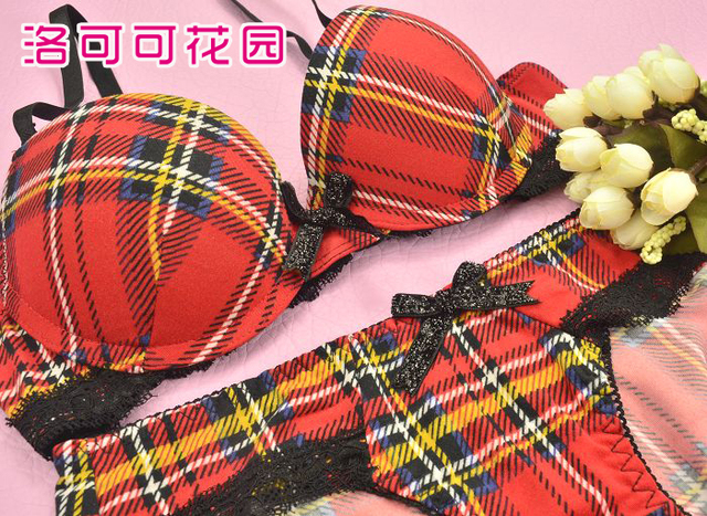 Underwear bra push up set cotton 100% preppy style bow red check lace young girl