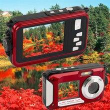 """Hot Étanche Caméra Numérique 24MP Double LCD Écran Appareil Photo Numérique Il Ya 2.7 """"arrière 1.8"""" auto-minuterie CMOS Caméscope mini Caméra DVR"""