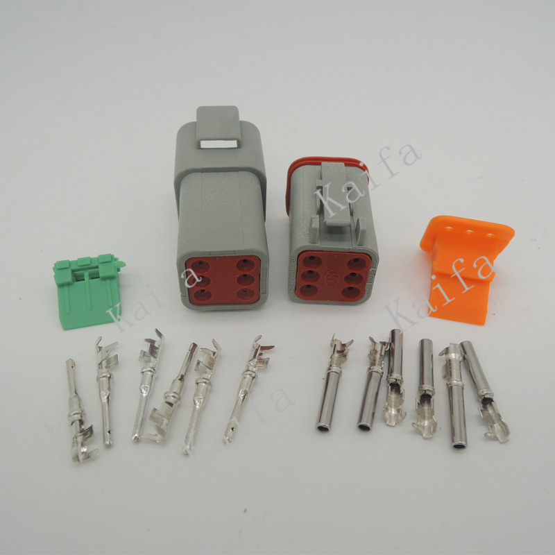 1 sets Kit Deutsch DT 6 Pin Waterproof Electrical Wire Connector plug Kit 22-16AWG DT06-6S DT04-6P 1 sets deutsch dt06 dt04 2 3 4 6 8 12 pin engine gearbox waterproof electrical connector for car bus motor truck