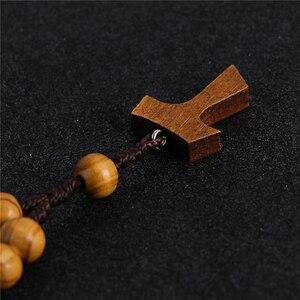 Image 3 - Komi 10mm Wooden Beads Rosary Finger Chain Prayer Bracelet 11pc Beads Bracelets Handmade Religious Jewelry R 070