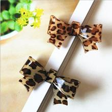 New Arrival styling tools Cute Leopard bow hairpin headwear hair accessories for women girl children make you fashion
