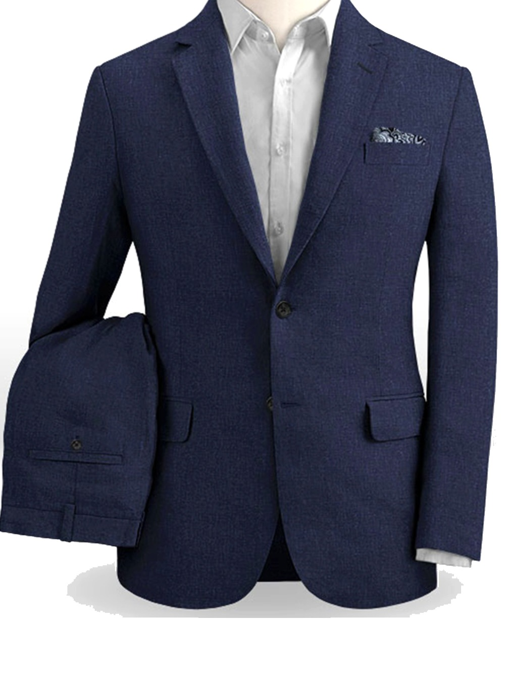 Erkek Kıyafeti'ten T. Elbise'de Açık Lacivert Keten Takım Elbise Erkekler Özel Yapılmış Slim Fit Hafif Damat Plaj Düğün Için Uygun Takım Elbise Erkekler Için nefes Kostüm'da  Grup 1