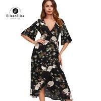 Eileen Elisa Womans Animal Print Dresses 2017 Elegant V Neck Half Sleeve Dress Women High Low Dresses Casual