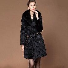 Free shipping women long genuine real rabbit fur coat women with big fox fur collar jacket winter European Lady plus big size