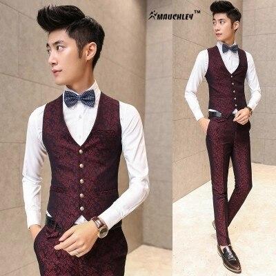 Wine Red Navy Dress Vest Men Slim Fit Suits Waistcoat Fashion Floral Printed Colete Masculino 2017 Korean Design Blazer Vest