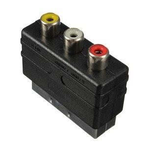 Высококачественная штепсельная вилка SCART с 20 контактами на 3 RCA гнездо, AV ТВ Аудио Видео адаптер, конвертер