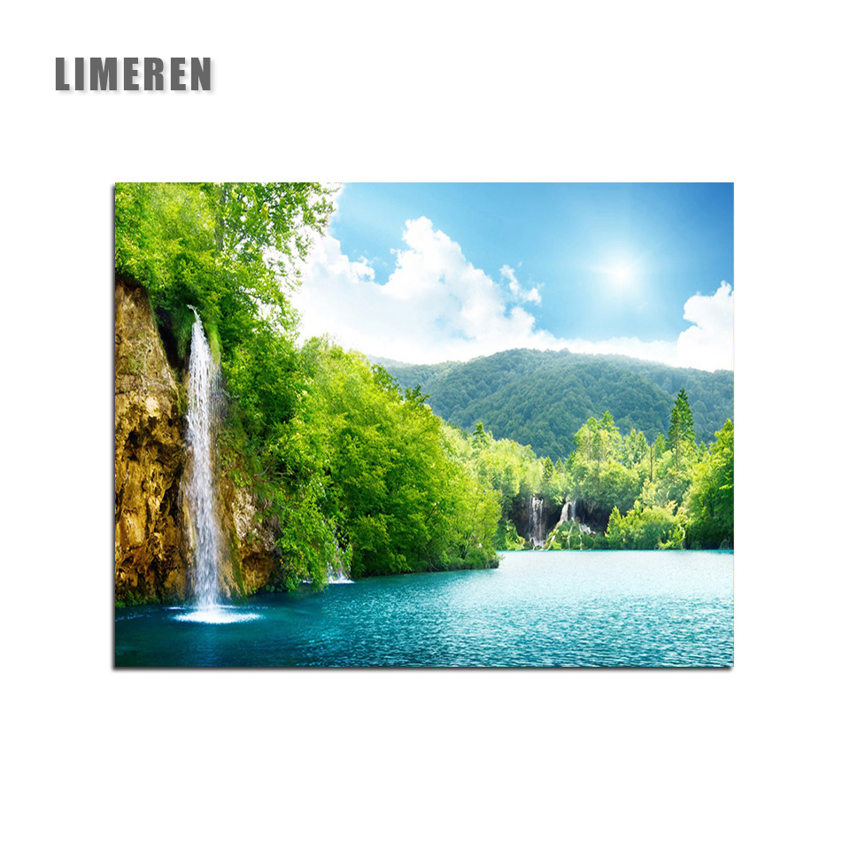 Oil Paint DIY Picture Waterfall Drawing On Canvas Oil Painting By Hand Coloring Lake Landscape Painting By Numbers
