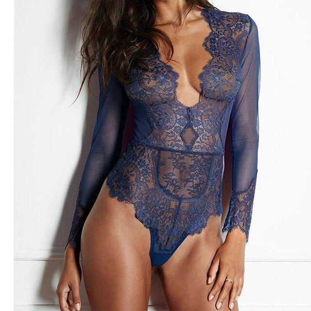Womens Romper Long Sleeve Transparent Lace Bodysuit Sexy V Neck Black Mesh  Bodysuit Summer Short Party 3c92456a2