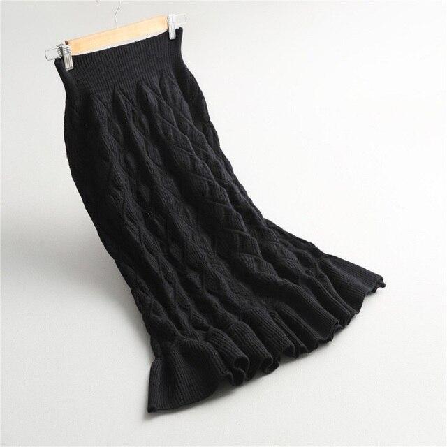Осень 2017 г./зима Для женщин Длинная юбка Винтаж трикотажные Для женщин Длинная юбка Русалка женские высокие эластичные теплые женские Макси Юбка Saia