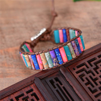 Boho Tube Shape Natural Stone Beaded Bracelet Unique Friendship Leather Bracelet Dropshipping Single Leather Wrap Bracelet 1