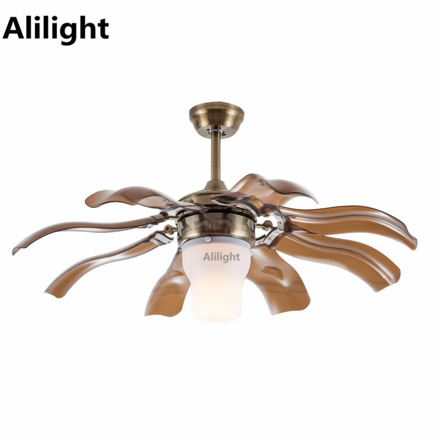 Led Ceiling Fans Remote Control Fan With Light Modern Stainless Steel Hanging For Dining
