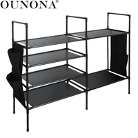 OUNONA Sturdy Shoe Rack Space Saving Non woven Fabric Shoe Tower Cabinet Storage Organizer (4+2 tiers, black)