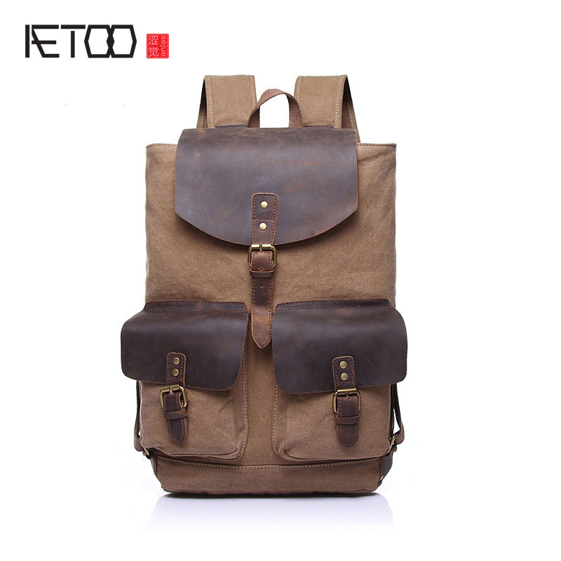 AETOO Canvas with leather shoulder bag men and women fashion leisure bags European and American retro leisure package