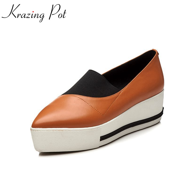 Krazing Pot new cow leather solid pointed toe wedges sneaker causal shoes simple style elastic band vulcanized women shoes L2f7