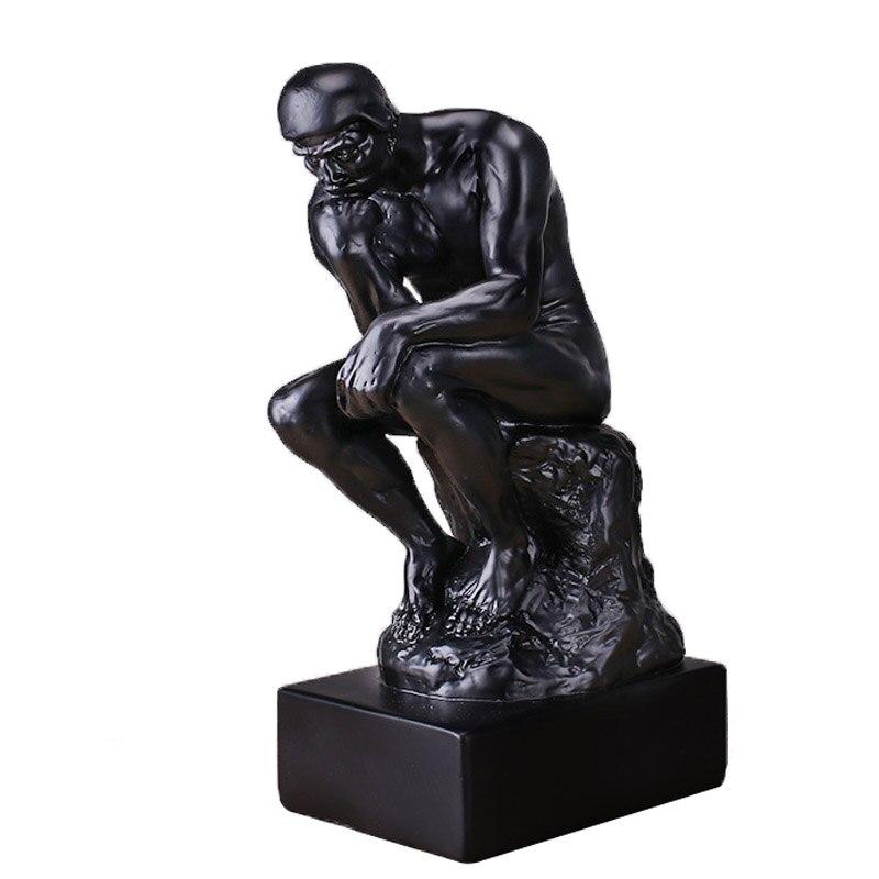 Criativo Retro New Pensador Praticante de Arte Artesanato Decoração Escultura Preto Retro Caráter Criativo Ornamento Presentes do Negócio