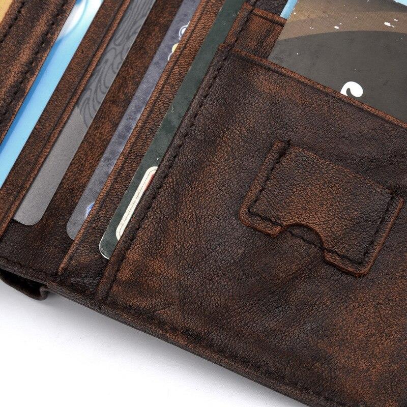 2018 New Genuine Leather Men Wallets Vintage Purse Luxury Brand Bifold PORTFOLIO Rfid Fashion Magic Vallet Male
