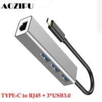 Station d'accueil type-c à Multi USB 3.0 pour MacBook Pro Huawei P20 USB 3.0 RJ45 moyeu de USB-C de Transmission haute vitesse
