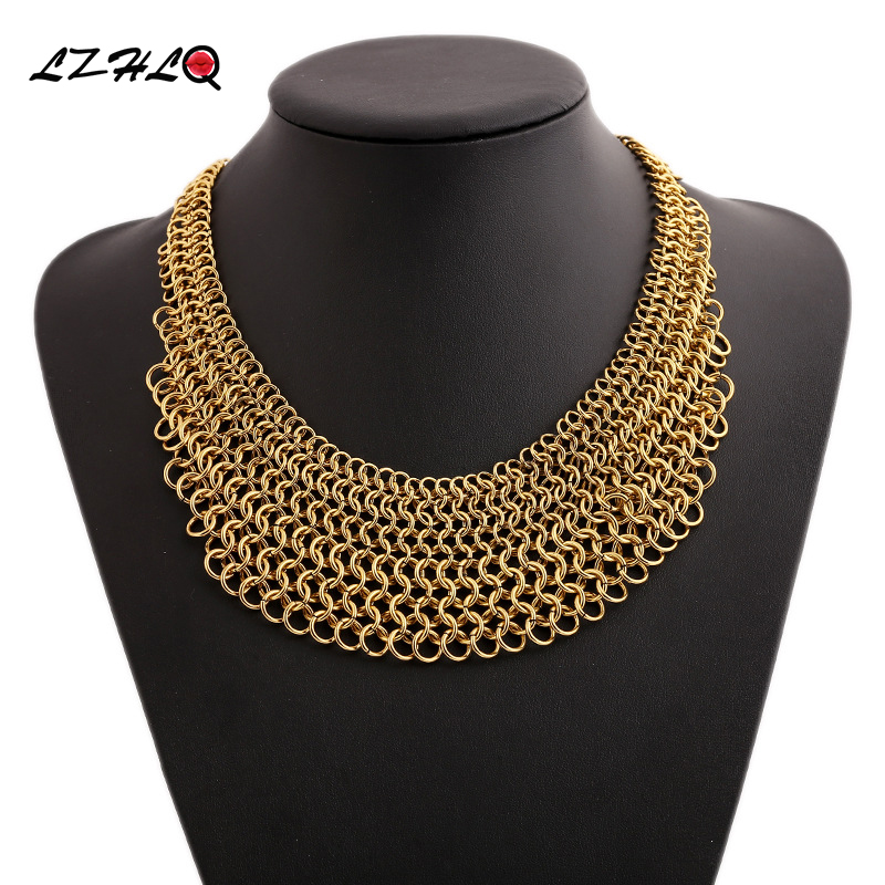 LZHLQ Maxi Geometric Splice Choker Necklaces Fashion Women Brand Short  Necklace Trendy Round Multilayer Chains Jewelry Statement f39a93851008