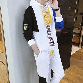 Casual Spring 2 Piece Sweatsuit for Men Patchwork Sweatshirt Hoodies and Pants Men's Streetwear Korean Tracksuits Jogger M5S52