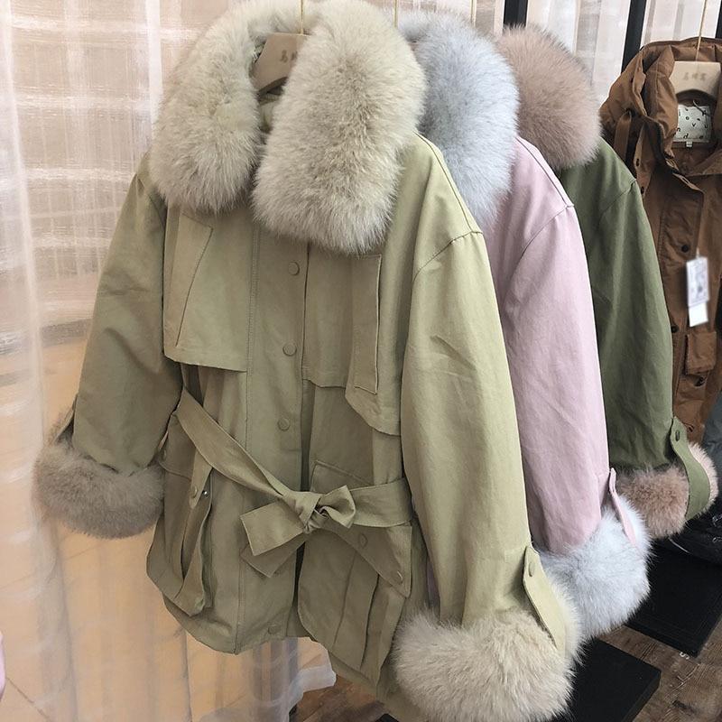 Winter Parkas khaki Unten Ns863 Ente Mujer Kragen Hülse pink Pelz Echt Frauen Wsyore Armygreen Dicke Jacke Weiblichen Mantel 2018 amp; Fox Neue Warme wzxq1OYS