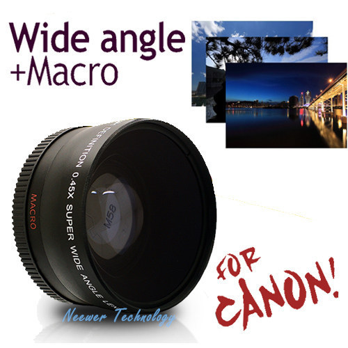 Neewer High Quality 58mm 0.45X Super Wide Angle camera Lens for Canon EOS 1100D 550D 700D 600D 500D kit + Lens Bag Free Shipping