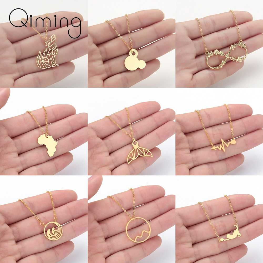 Women Stainless Steel Mickey Necklace Fashion Everyday Necklace Mouse Cat Wolf Map Ocean Wave Tail Infinity Jewelry Baby Gift