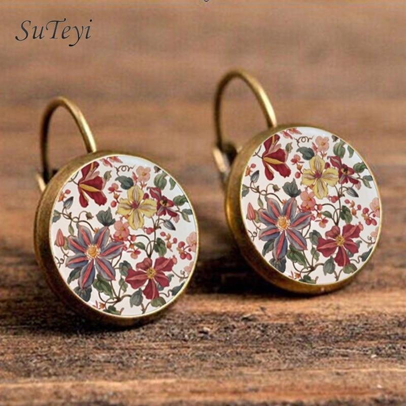 SUTEYI Charm Henna Yoga Amulet Ladies Round Earrings Glass Cabochon Earings Jewelry Mandala Symbol Bohemia Earrings For Women