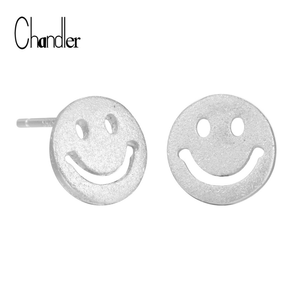 Chandler New 925 Sterling Silver Smile Face Stud Earrings For Women Cartoon Emoji Expression Jewelry For Female Party Kids Gifts