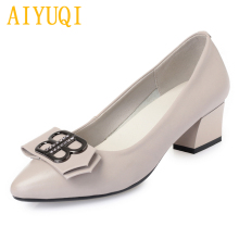 AIYUQI Genuine leather women shoes 2019 spring large size 41 42 43 fashion work banquet dress