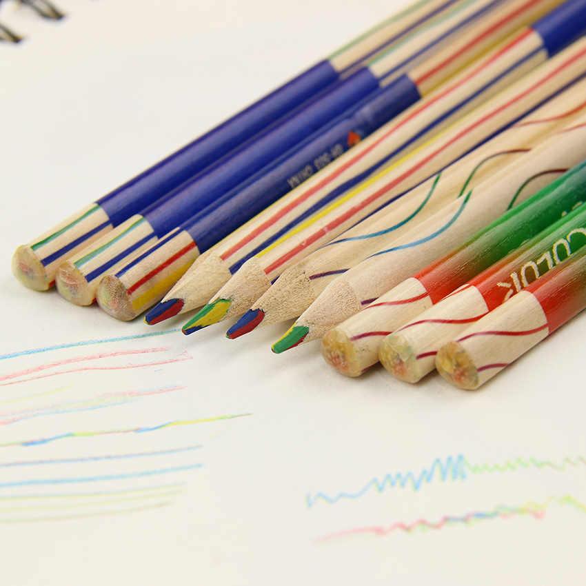 6 unids/lote 4 en 1 lápiz Arco Iris madera lápiz triangular para bricolaje dibujo bolígrafos Material de papelería Escolar de oficina
