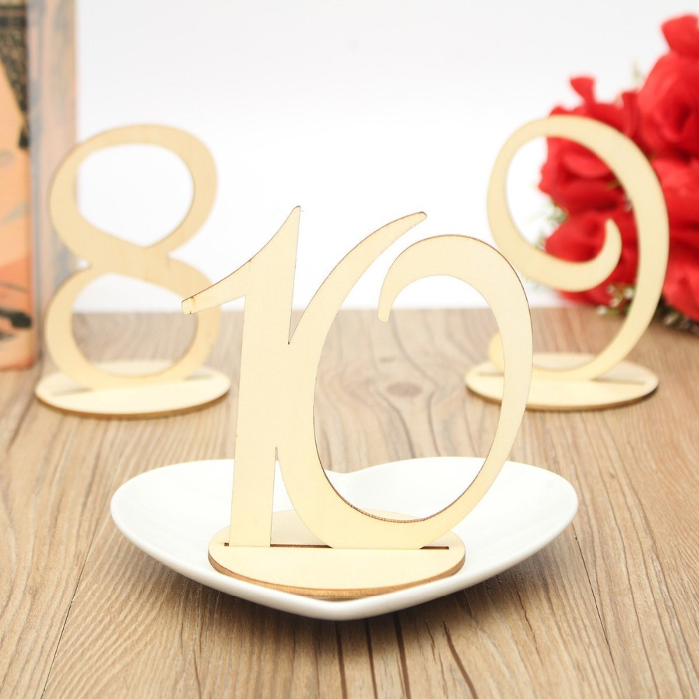 10pcs/set Wedding Wooden Table Number, Wedding Engagement Seat Numbers Sign, Wedding Party Supplies, Birthday Party Decoration