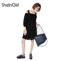 SheInGirl Slash Neck Lantern Sleeve Solid Black Women Dresses Three Quarter Sleeve Elastic Waist Backless Sweet Vestidos