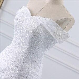 Image 5 - Fansmile vestidos de Encaje Vintage con cuentas, vestido de novia de sirena de talla grande, traje de boda largo de tren hecho a medida, FSM 432M de pavo