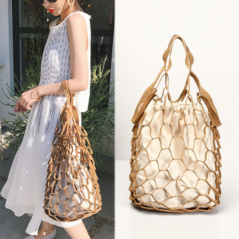 Bag Woven Bag Totes Retro Net Bags Hollowed Gridding Handbag Shopping Bag Tote Large Size Canvas Package