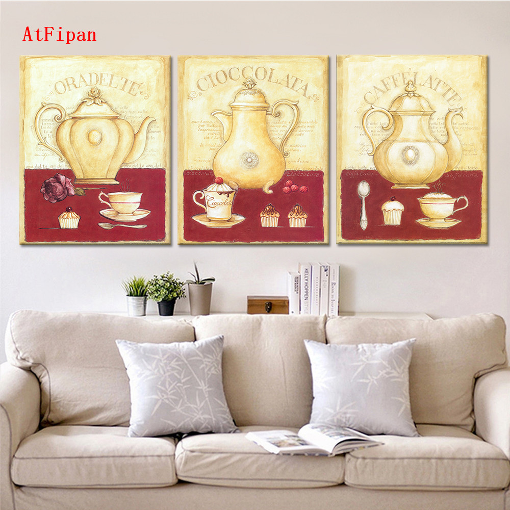 AtFipan Drop Shipping Flower Canvas Painting Dining Decorative Unframed Wall Picture For Kitchen Room Vintage Art Posters