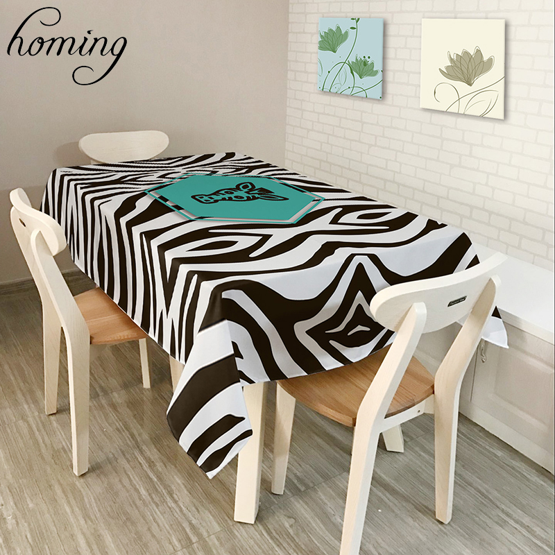 homing rectangle oilproof decoration modern dinning table cloth black white zebra striped pattern picnic table covers textiles