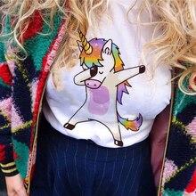 ZZSYKD Summer Harajuku Unicorn Print Women T-shirt 2018 Bts O-neck Tshirt Femme Tops Cute White Funny T Shirt Women Cotton Top