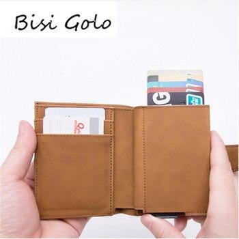 Bisi Goro 2019 Baru Kedatangan RFID Blocking Pemegang Kartu Kredit Kulit PU Unisex Bisnis ID Pemegang Aluminium Kotak Dompet Kartu