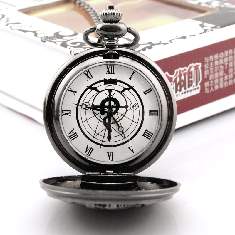 Silver Tone Fullmetal Alchemist Pocket Watch Men's Quartz Watch Cosplay Edward Elric With Chain Anime Boy Gift Relogio Masculino