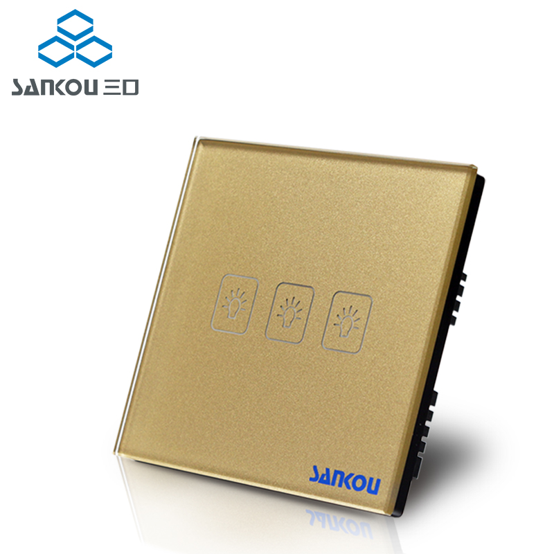 SANKOU Mirrors Touch Switches 3Gang1Way Luxury Golden Crystal Glass Panel Switch UK Standard AC220V/110V Smart Home Automation wall light touch sensor switch 3gang1way golden glass panel led us au standard touch switches ac220v 110v smart home